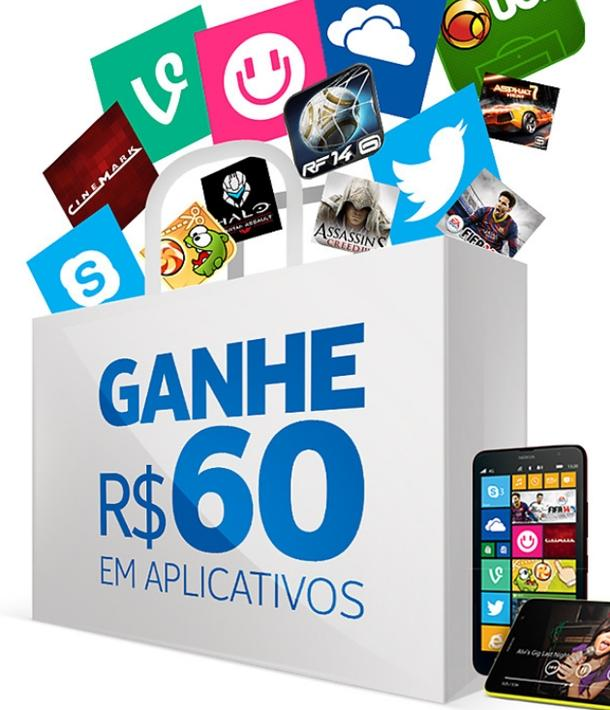 ganhe 60 reais para comprar apps na windows phone store nokia lumia