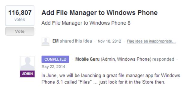 gerenciador de arquivos windows phone 81 user voice