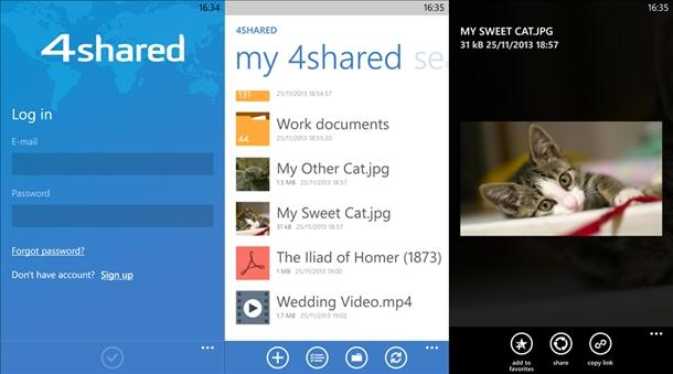 4shared app oficial windows phone