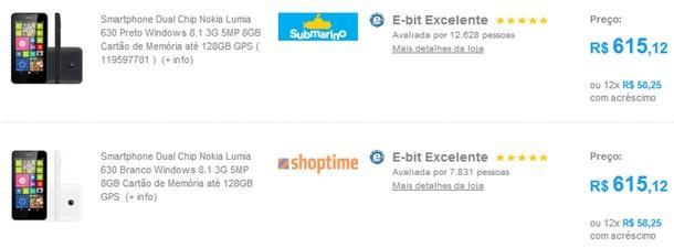 Lumia 630 submarino shoptime