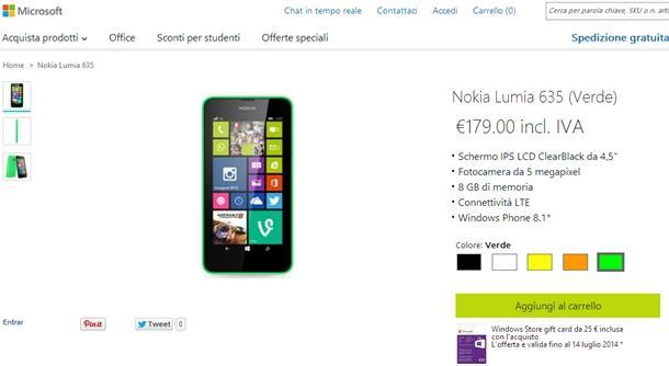 Lumia 635 microsoft store italia