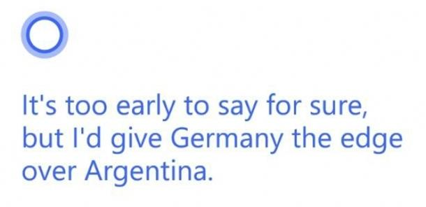 Cortana copa do mundo alemanha