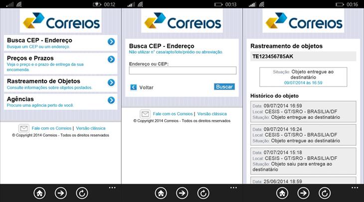 Correios app oficial windows phone 81