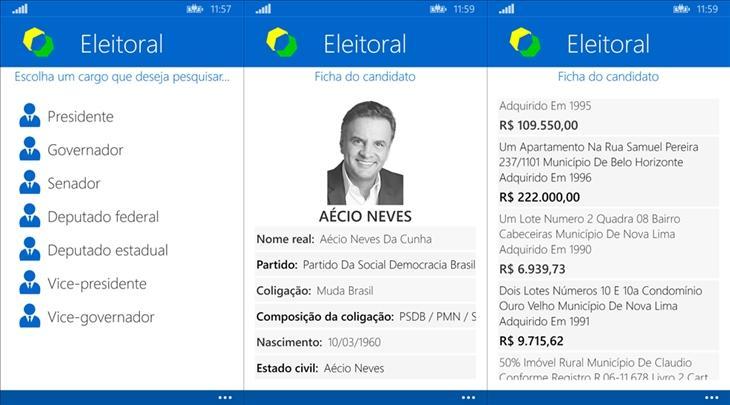 eleitoral app windows phone