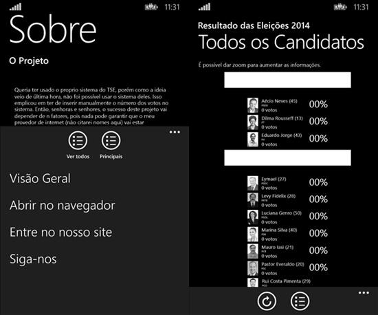 resultado das eleicoes 2014 app windows phone