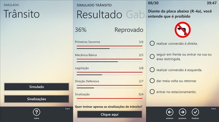 simulado transito windows phone