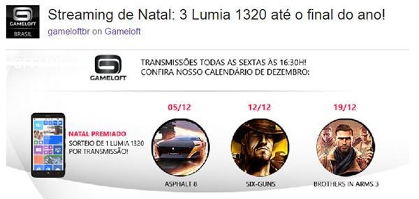 Gameloft sorteio Lumia 1320
