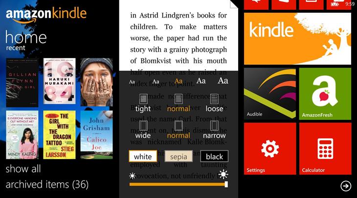kindle app windows phone