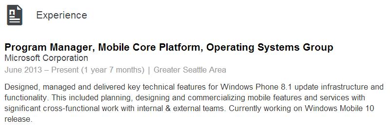 windows mobile 10 job microsoft