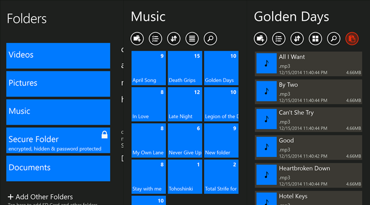 folders pro windows phone