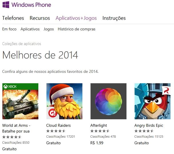 melhores do ano 2014 app e jogos windows phone store