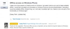 onedrive acesso offline arquivos windows phone
