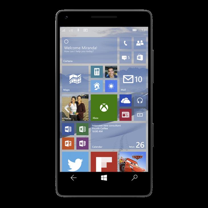 windows 10 smartphone home screen