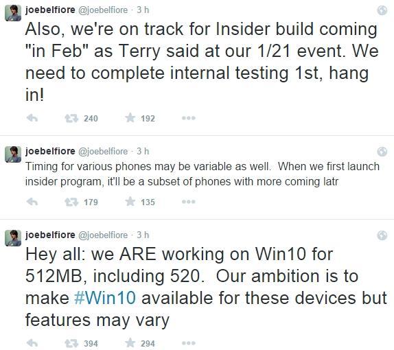 tweets joe belfiore windows 10 smartphones