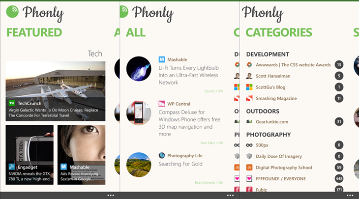 phonly Feedly windows phone