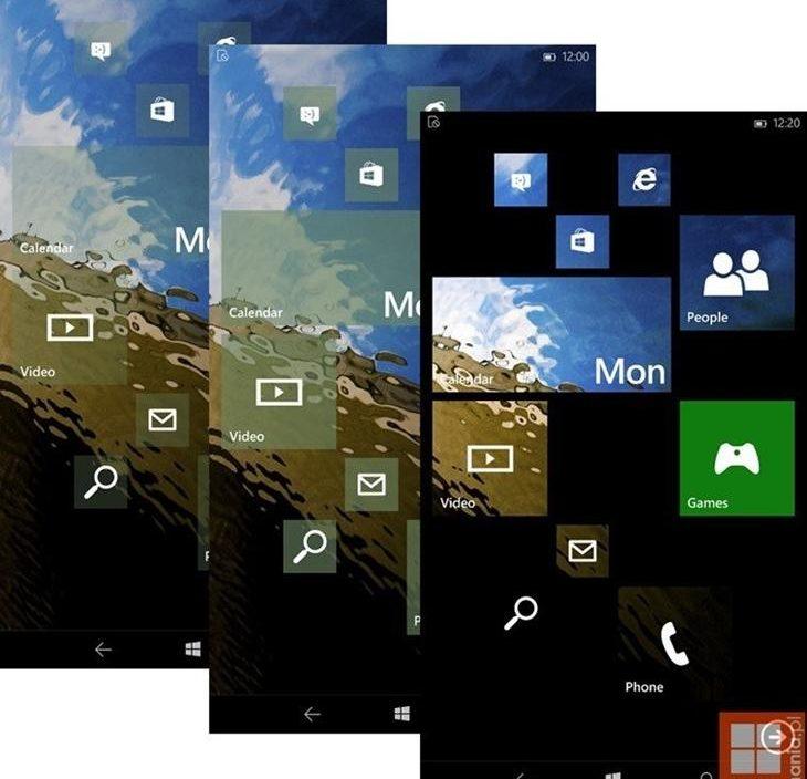Novas imagens revelam quais serão as opções de transparência nas Live Tiles no Windows 10 para smartphones