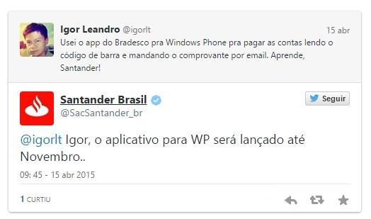 santander tweet promessa windows phone app