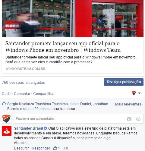santander windows phone resposta