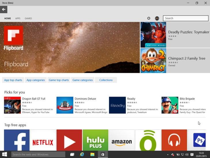 Windows Store Beta, presente na versão Technical Preview do Windows 10 para desktops
