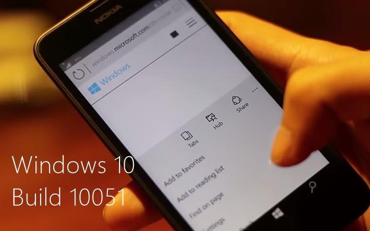 Windows 10 build 10051 smartphones