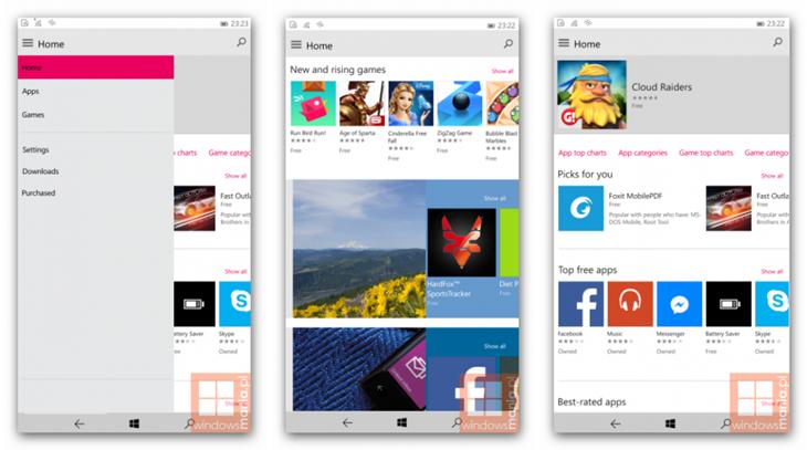 Nova interface da loja de apps e jogos para o Windows Phone