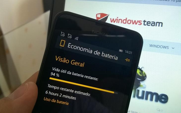 economia de bateria windows 10 mobile