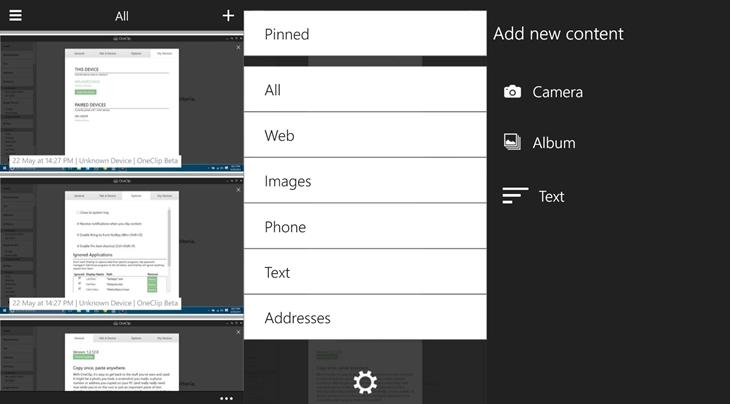 Prévia do OneClip para o Windows 10 Mobile