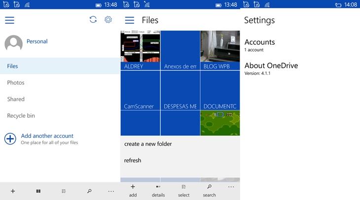 Onedrive app windows 10 mobile img1