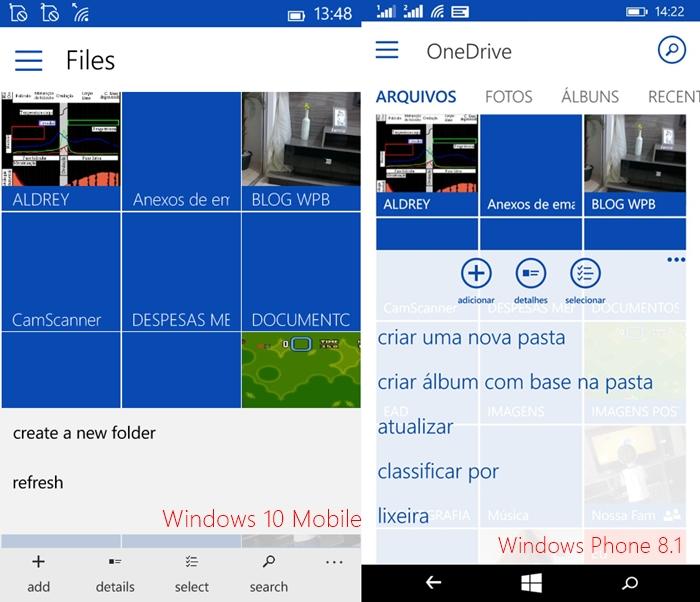 Onedrive comparativo app wp8 windows 10