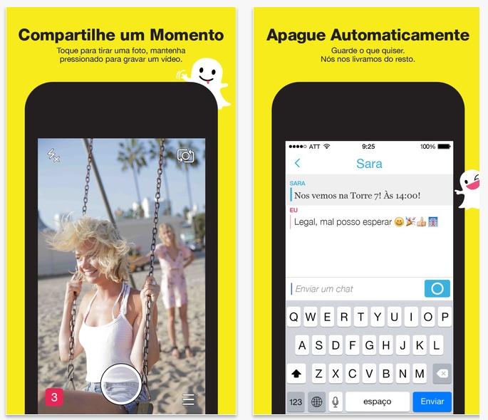 Versão do Snapchat para o iOS da Apple. Ele também conta com uma versão para o Android.