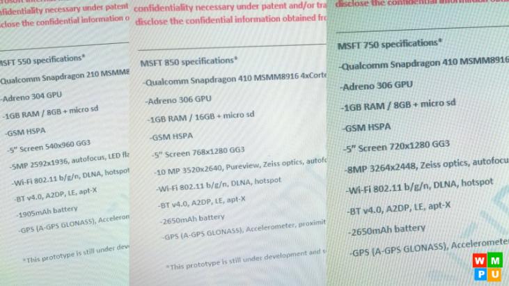 [Atualizado] Vazam especificações dos Lumias 550, 750 e 850