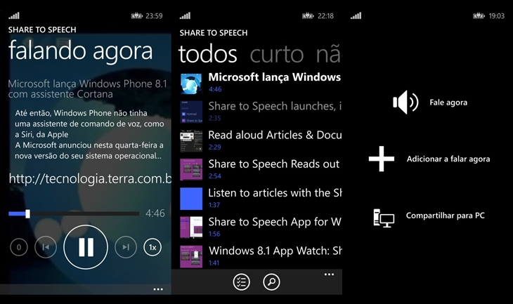 share to speech windows phone