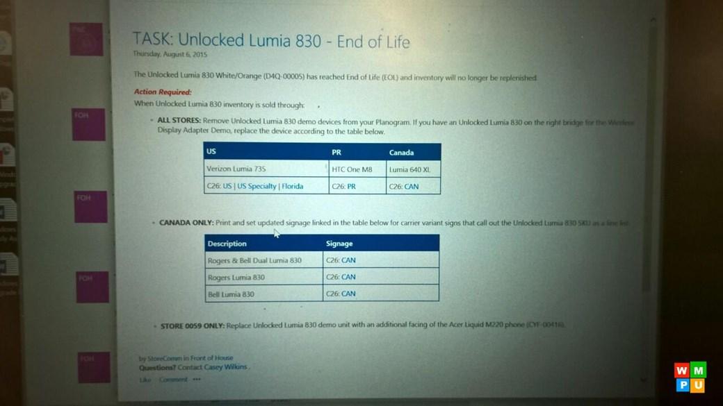 Lumia 830 descontinuado