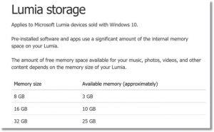 lumia storage memory windows 10 mobile