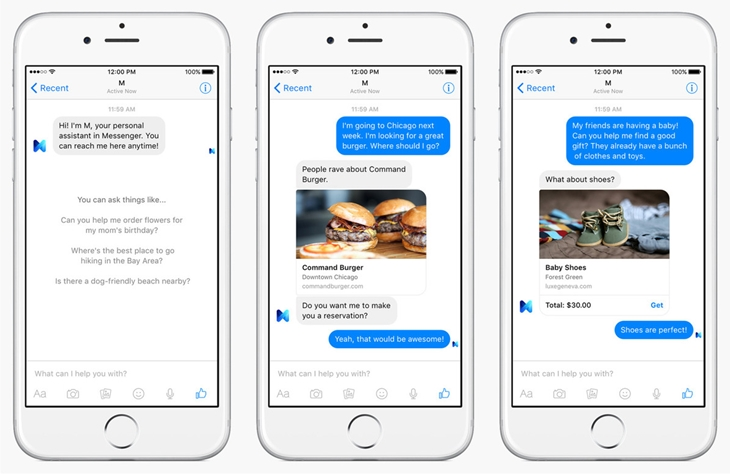 """Prévia de """"M"""" funcionando no app do Facebook Messenger para o iPhone"""