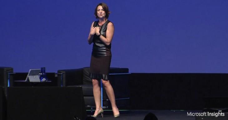 Paula Bellizia, presidente da Microsoft Brasil, na palestra de abertura do Microsoft Insight no Brasil