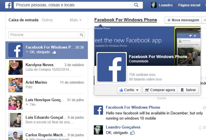facebook novo em dez windows 10 mobile