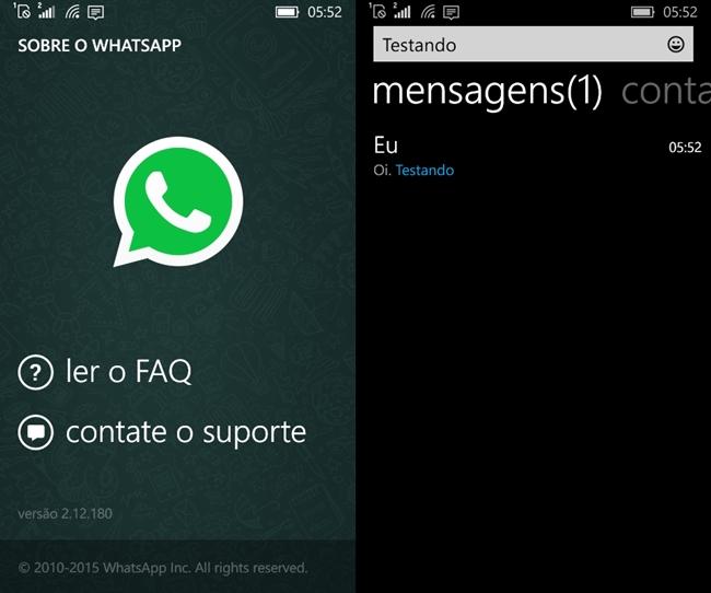 whatsapp busca mensagens windows phone