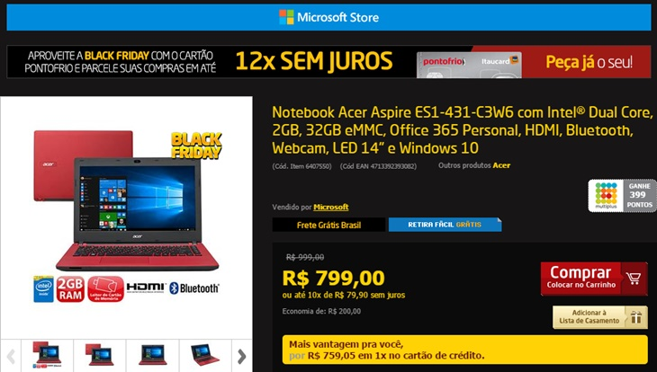 black friday Cloudbook Acer Windows 10