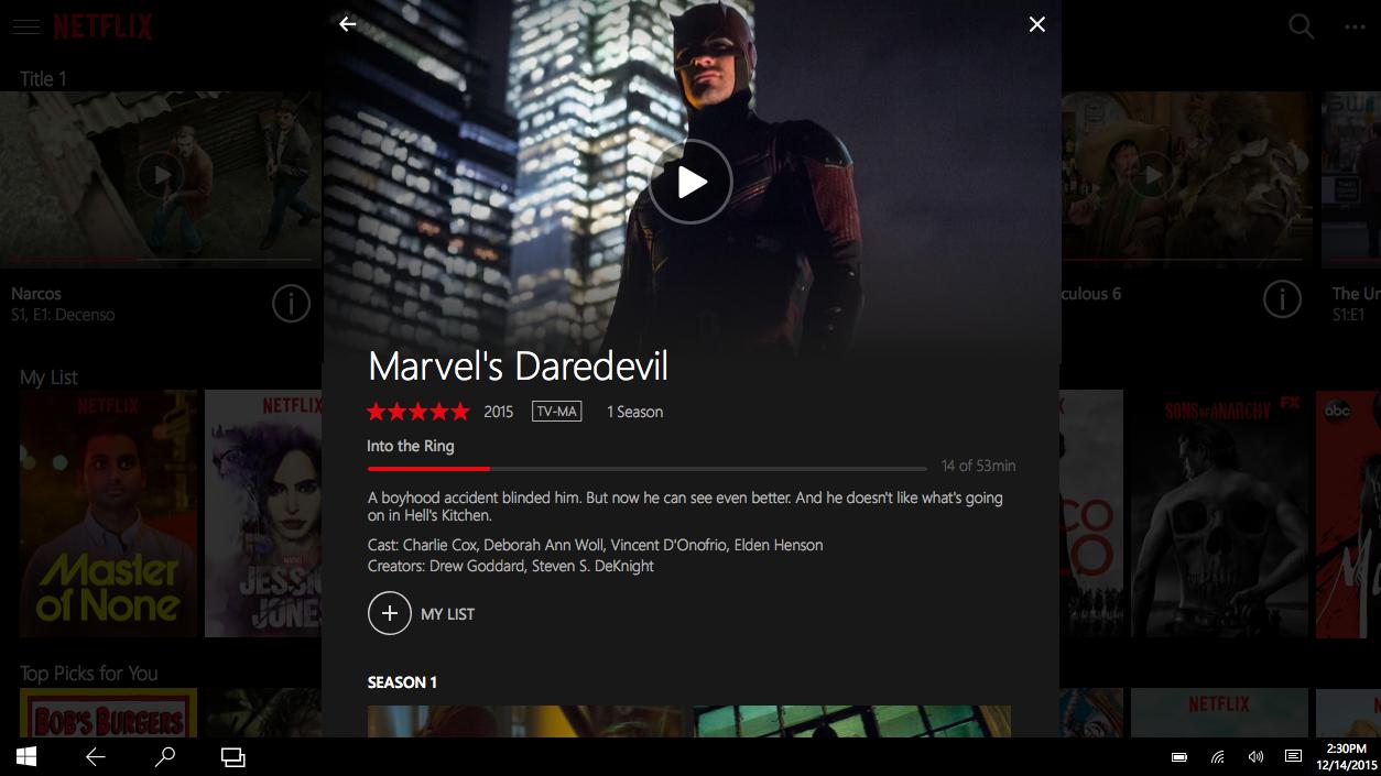 Netflix universal app Windows 10 img2