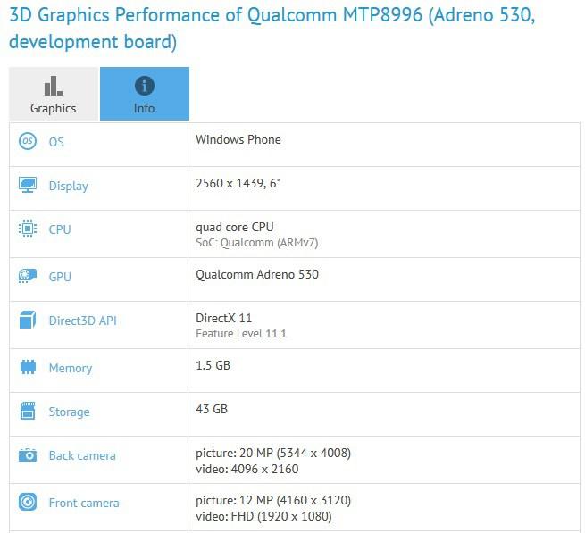 GXBench teste Surface Phone Windows Phone