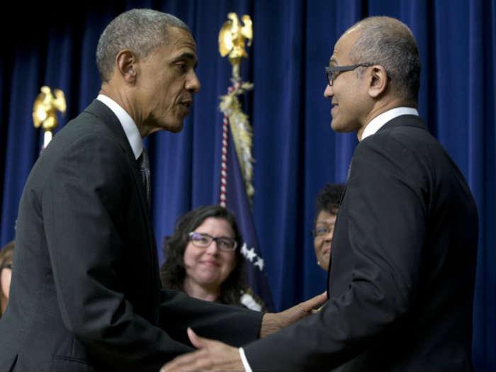 Satya Nadella e o Presidente Barack Obama