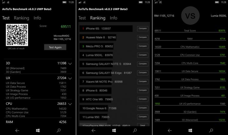 Screen shots do APP para o Windows 10 Mobile