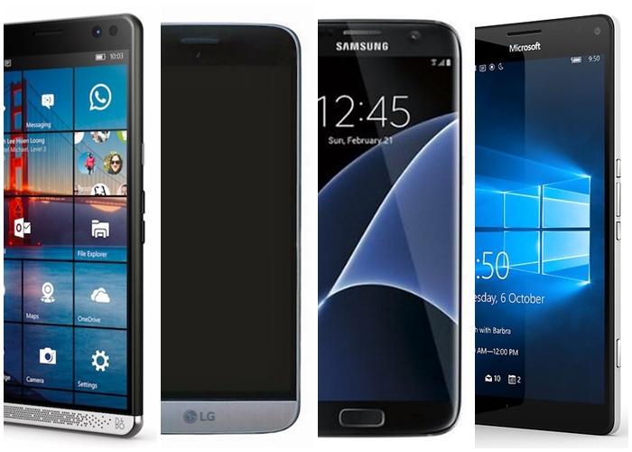 comparativo HP Elite X3 LG G5 Samsung Galaxy S7 Edge Lumia 950 XL
