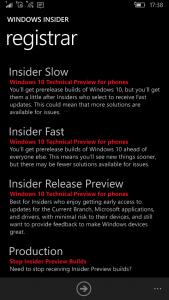 Tela de configuração do app Windows Insider