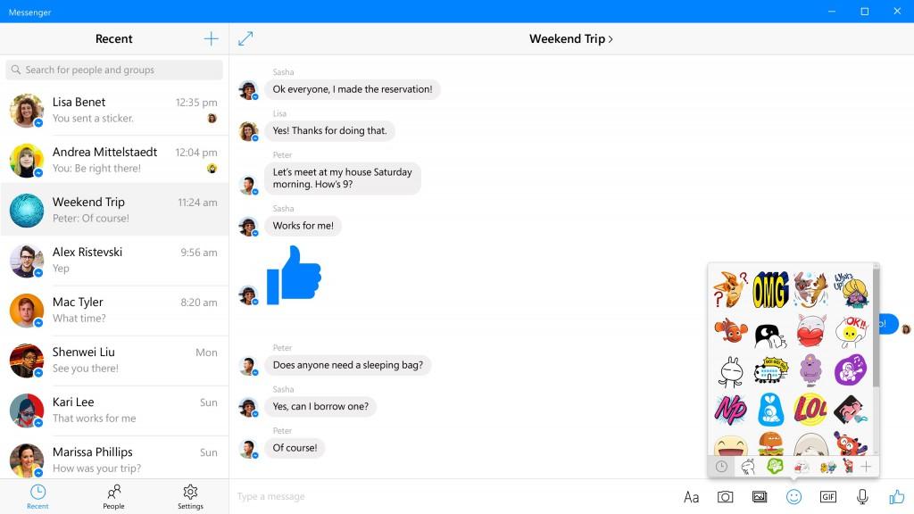 novo facebook messenger windows 10 img1