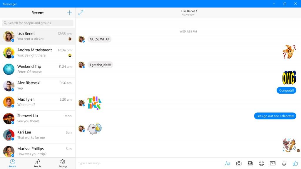 novo facebook messenger windows 10 img2