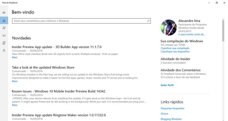 feedback hub windows 10 APP img1