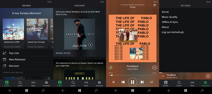 spotify windows 10 mobile udate