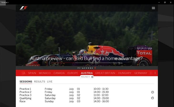 formula 1 app oficial windows 10 img1